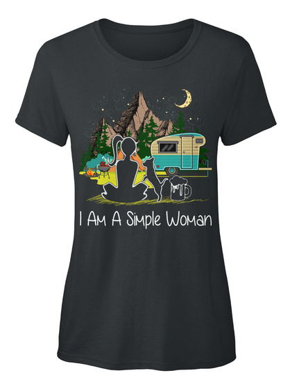I'm A Simple Woman Love Camping Dog Beer Black T-Shirt Front