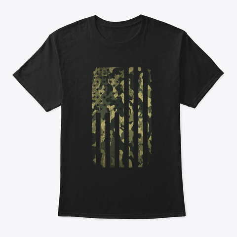 Camo American Flag Camouflage T Shirt Black T-Shirt Front