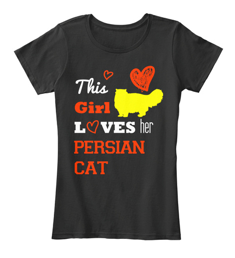 This Girl Loves Her Persian Cat Tee Black Women's T-Shirt Front
