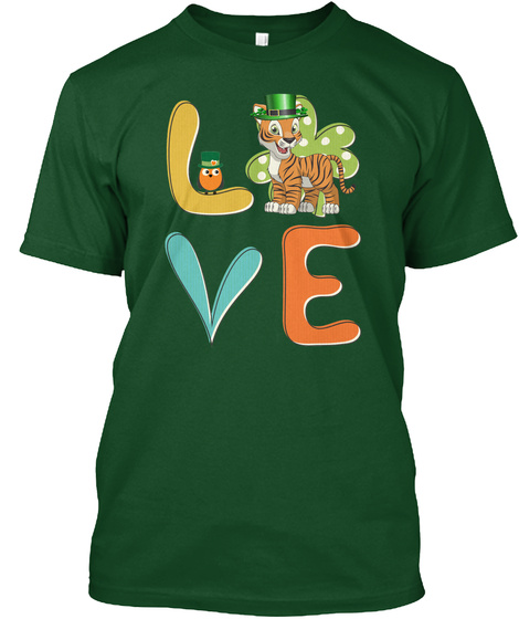 Tiger Shamrock St Patrick Day Deep Forest T-Shirt Front