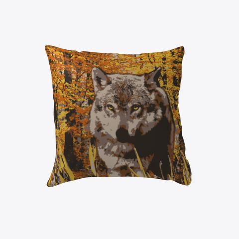 Fall Wolf Pillow Orange T-Shirt Front
