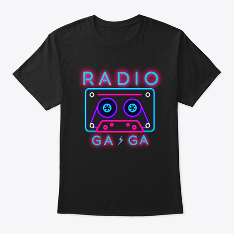 Queen T Shirt,  Radio Ga Ga Shirt,  80s, Black T-Shirt Front