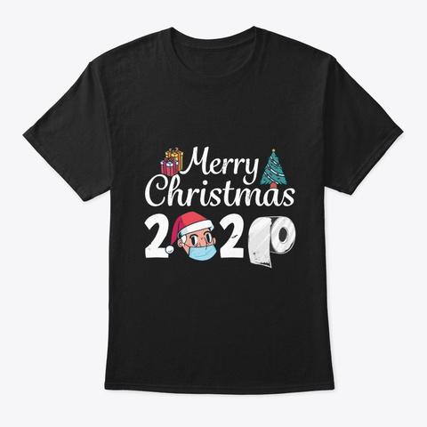 Face Mask Santa 2020 Christmas Gift Black T-Shirt Front