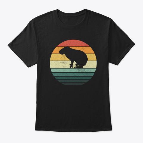 Capybara Sunset Retro Vintage 70s Animal Black T-Shirt Front