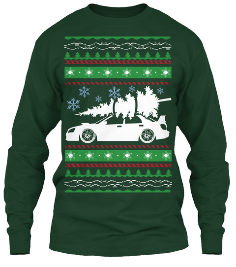Subaru Ugly Christmas Sweater   Forest Green Long Sleeve T-Shirt Front