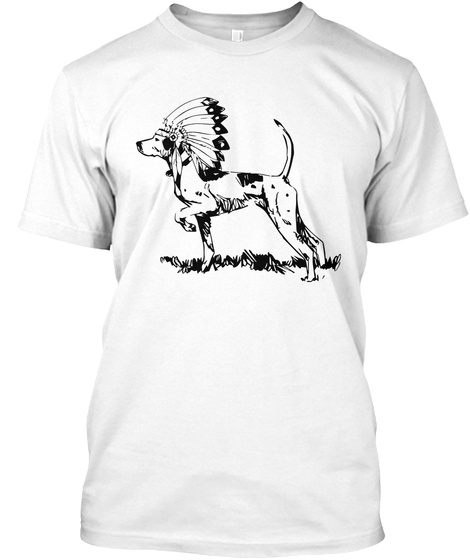 Indian Pointer   Black On Light White T-Shirt Front