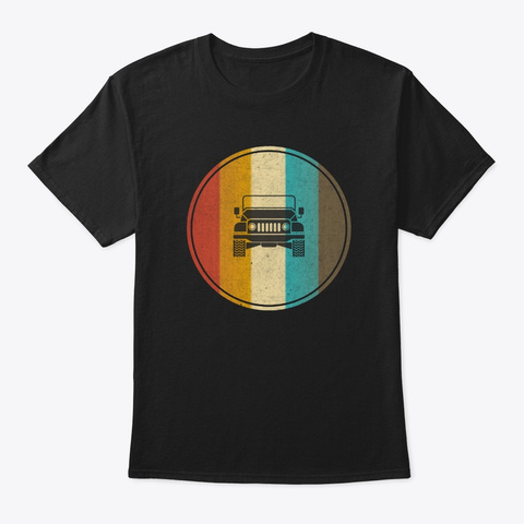 Retro Vintage Jeep Lover Owner Gift Black T-Shirt Front