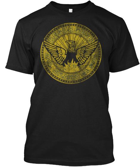 Vintage Distressed Flag Of Atlanta Black T-Shirt Front