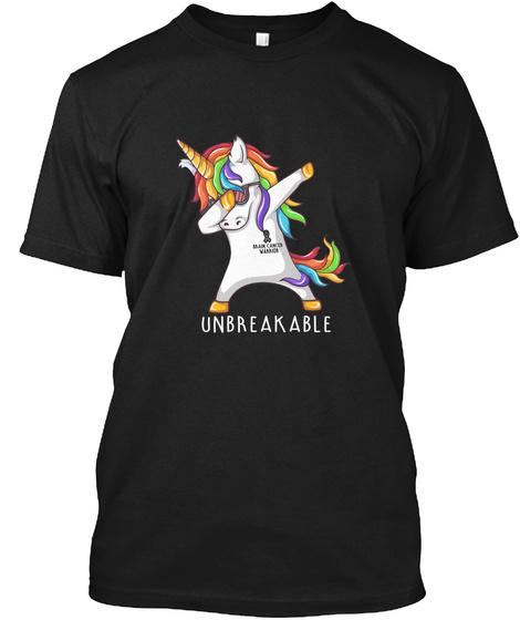 Unicorn Brain Cancer Warrior Black T-Shirt Front