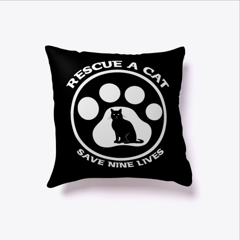 Rescue A Cat Save Nine Lives Cat Lover  Black T-Shirt Front