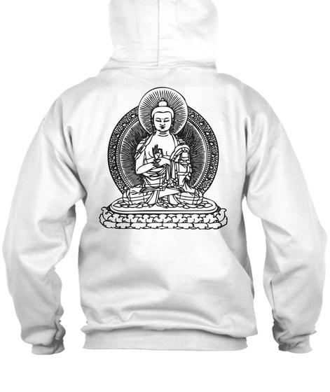 Buddha Zip Hoodie White T-Shirt Back