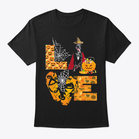 Love Great Dane Pumpkin Funny Halloween  Black T-Shirt Front
