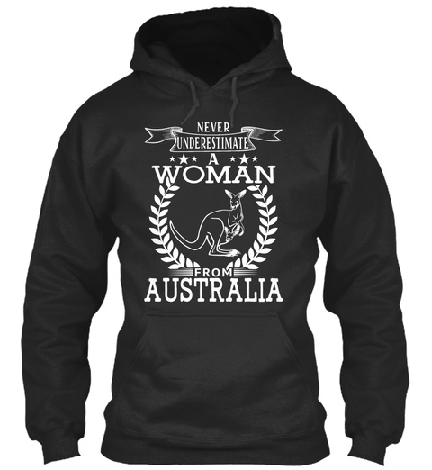 Never Underestimate A Woman From Australia Jet Black T-Shirt Front