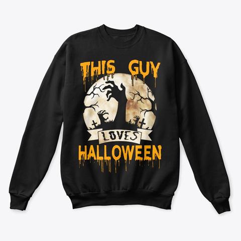 This Guy Loves Halloween Skeleton Black T-Shirt Front