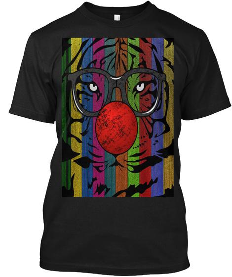 Tiger Clown Rainbow Black T-Shirt Front