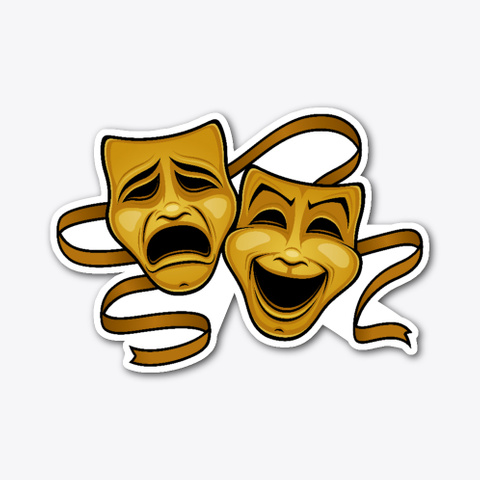 Gold Comedy And Tragedy Theater Masks Standard T-Shirt Front