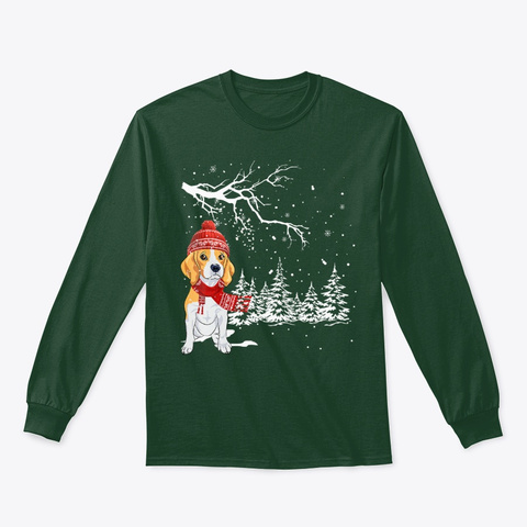 Funny Beagle Dog Snow Around Christmas Forest Green T-Shirt Front