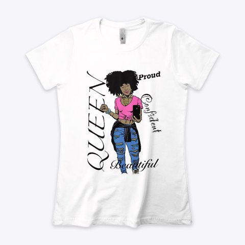 Black Queen Apparel White T-Shirt Front