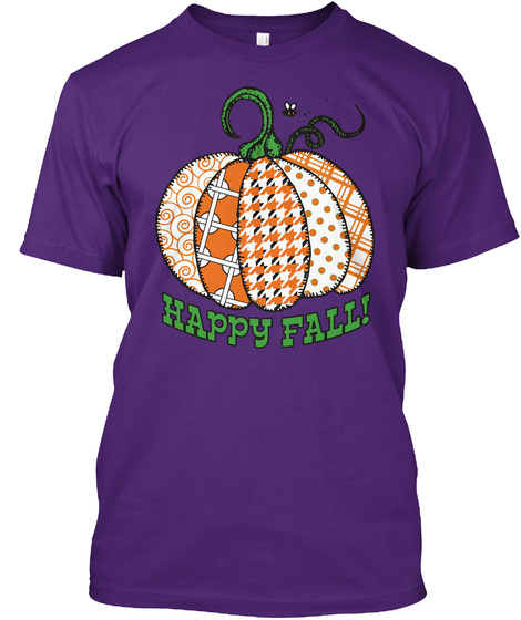 Happy Fall Purple T-Shirt Front