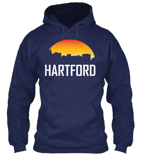 Hartford Connecticut Sunset Skyline Navy T-Shirt Front