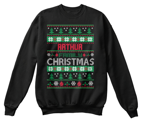 Arthur Family Christmas Black T-Shirt Front