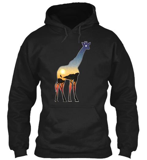 The Giraffe Art 1 Black T-Shirt Front