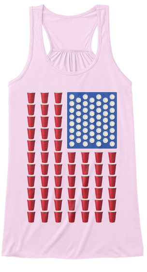 Beer Pong Drinking Game American Flag Soft Pink T-Shirt Front
