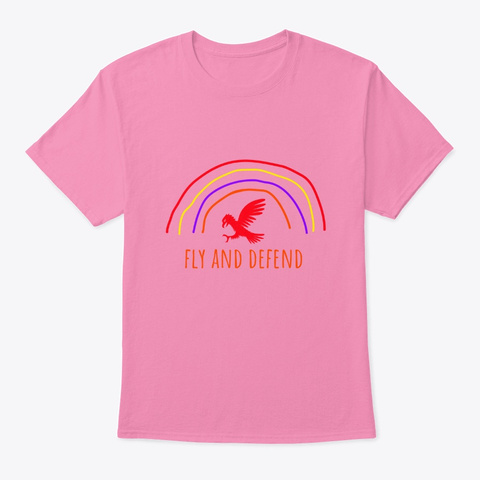 Fly And Defend   Hawk And Rainbow Pink T-Shirt Front