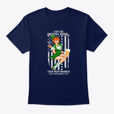 Irish American Girl Flag St Patricks Day Navy T-Shirt Front