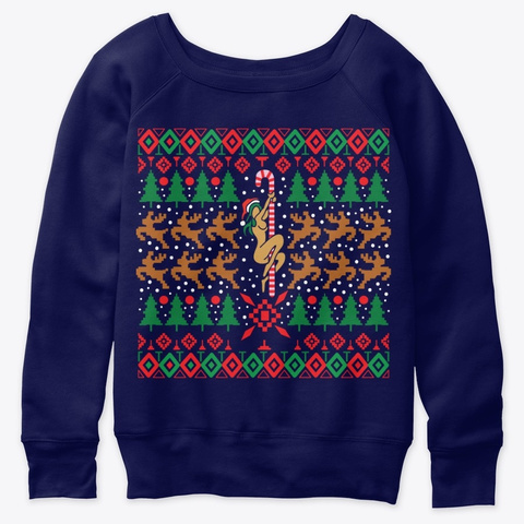 Funny Ugly Christmas Pole Dance Woman Navy  T-Shirt Front