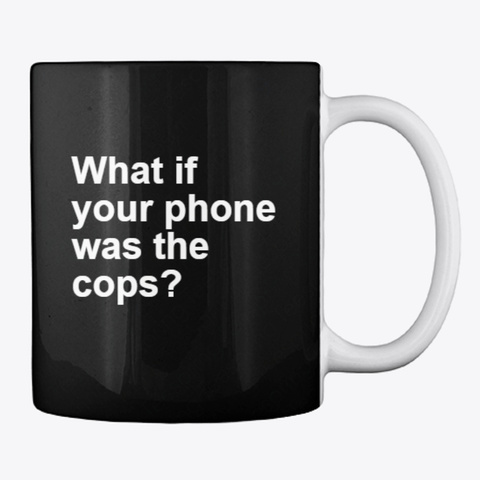 Trashfuture   Logo And Cop Phone Mug Black T-Shirt Back