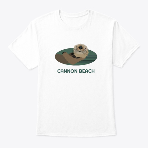 Cannon Beach Or Otter Pnw Tribal White T-Shirt Front