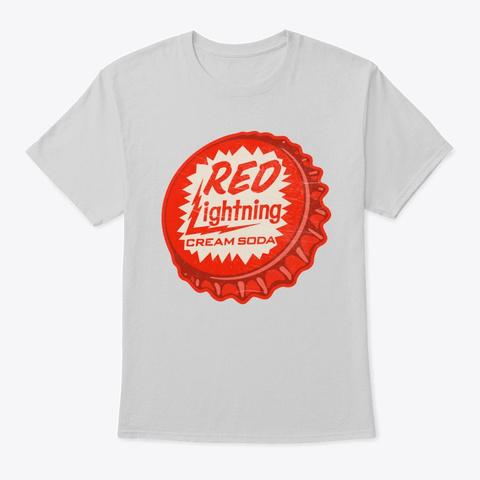 Vintage Red Lightning Soda Bottle Cap Light Steel T-Shirt Front