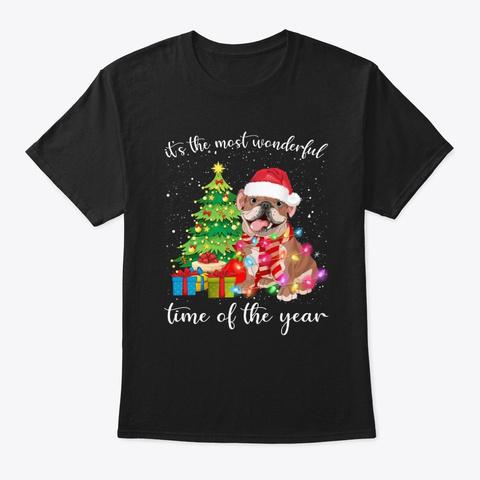 English Bulldog With Merry Chrismas Tee Black T-Shirt Front