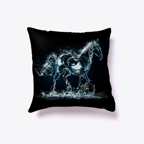 3 D Horse Water Art Black T-Shirt Front