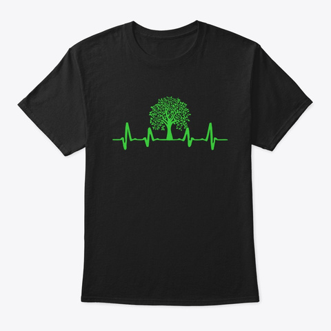Nature Heartbeat For Outdoors Lovers Black T-Shirt Front
