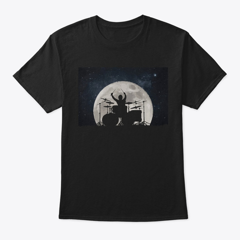 Drums Playing In Moon Space Solar System Black T-Shirt Front