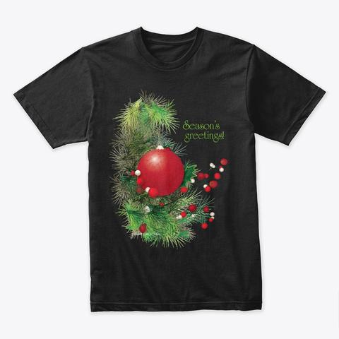Season Holiday Ornament Berries Black T-Shirt Front