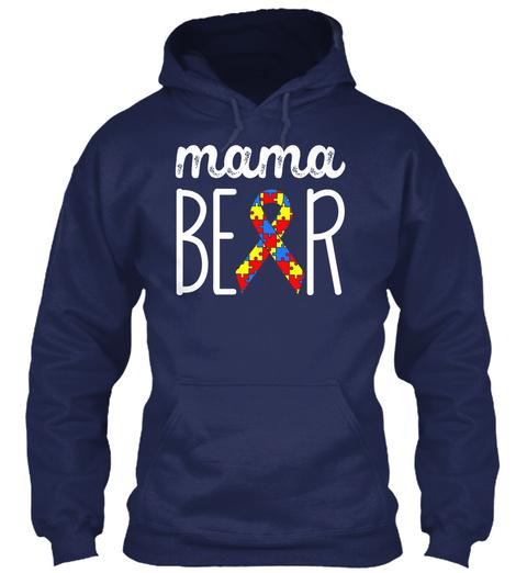 Mama Bear Navy áo T-Shirt Front