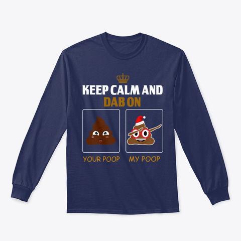 Funny Dabbing Poop Emoji Emoticon Navy T-Shirt Front