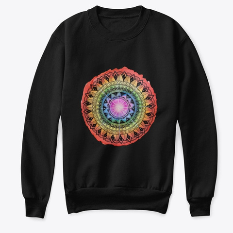 Chakra Mandala Pattern Design Black T-Shirt Front