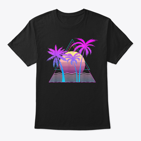 Retro 1980 S 1990 S Vaporwave Palm Trees B Black T-Shirt Front