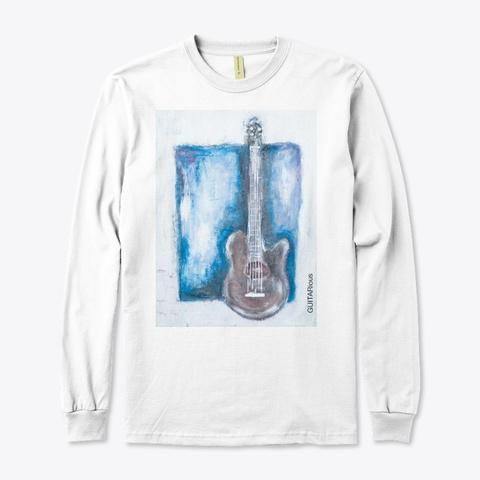 Guita Rious Guitar On Blue  White T-Shirt Front