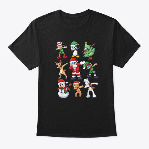 Dabbing Santa Elves Christmas Tree Snow Black T-Shirt Front