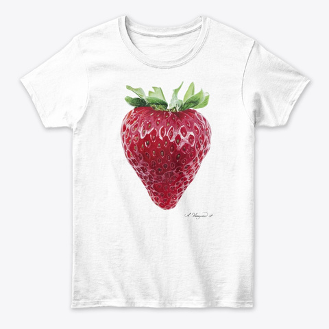 Strawberry Classic Signature White T-Shirt Front