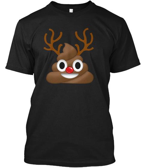 Poop Emoji Funny Christmas Reindeer  Black T-Shirt Front