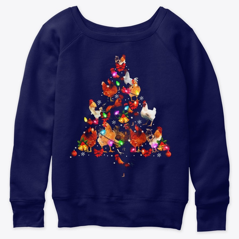 Chickens Christmas Tree Ornament Decor Navy  T-Shirt Front