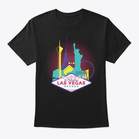 Las Vegas Skyline Souvenir Neon Style Black T-Shirt Front