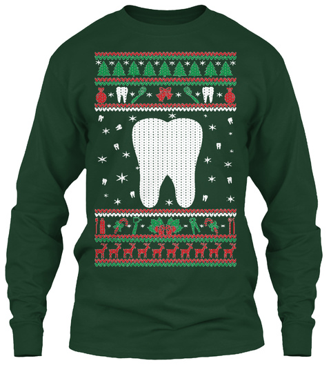 Dentist Ugly Christmas Forest Green T-Shirt Front