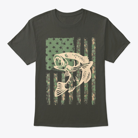 Camouflage Usa Flag Big Mouth Bass Smoke Gray T-Shirt Front
